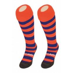chaussettes HINGLY orange bleu rayé