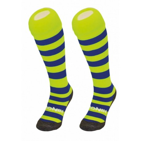 chaussettes HINGLY rayées jaune et bleu