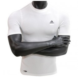T -shirt compression ADIDAS manches courtes blanc